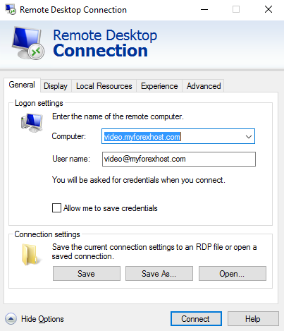 Windows 10 Remote desktop main window with filled access credentials